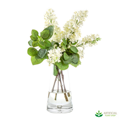 White Lilac's Arrangement in Glass Vase 47cm