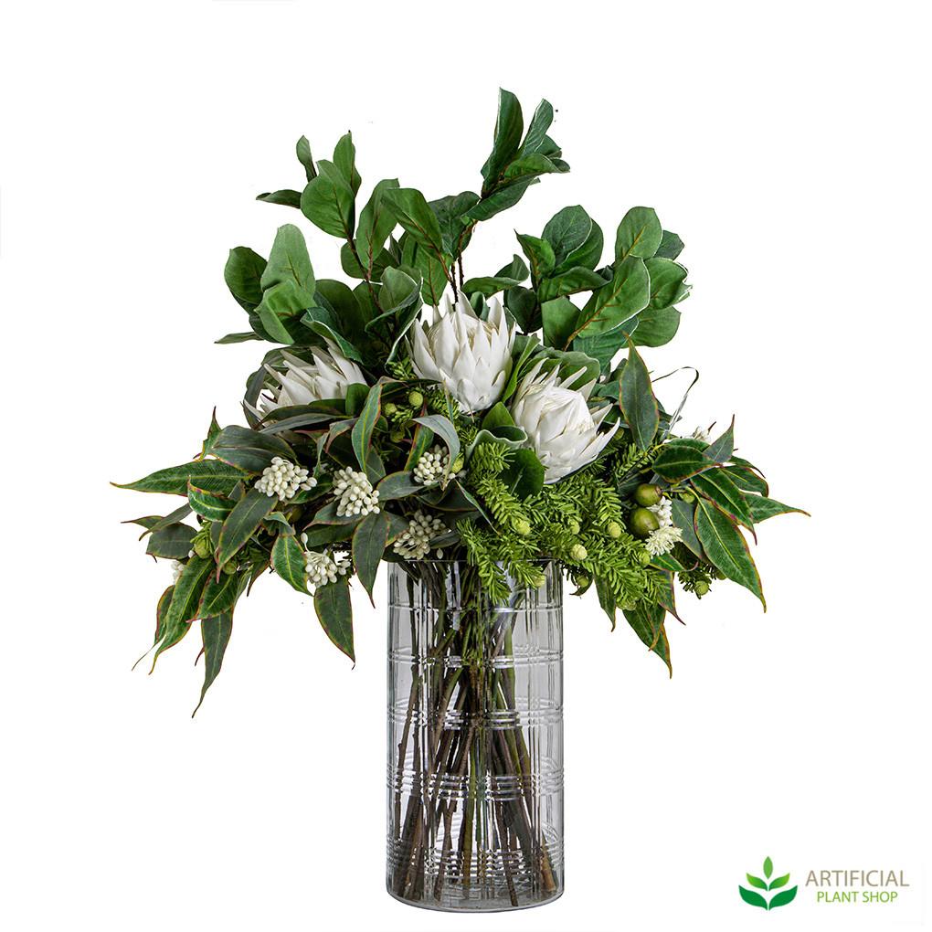 White Protea Artificial Flower Arrangement