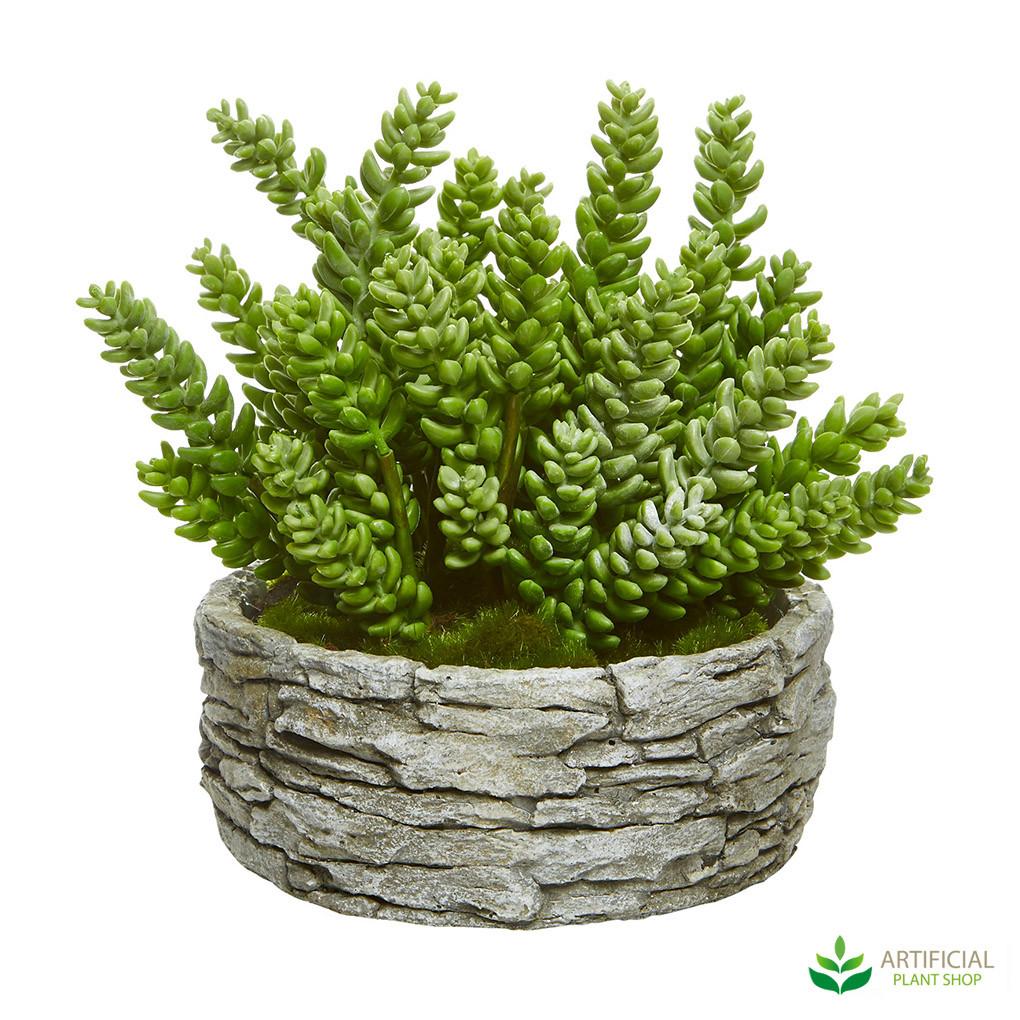fake succulents in pot
