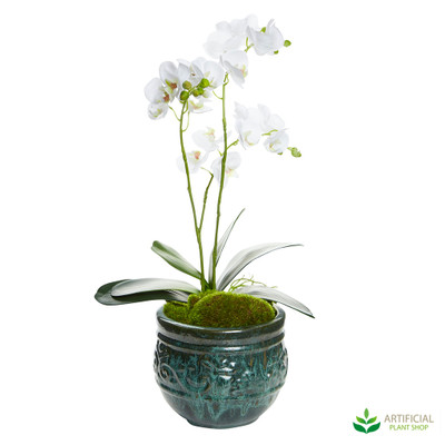 artificial Orchid in emerald green planter