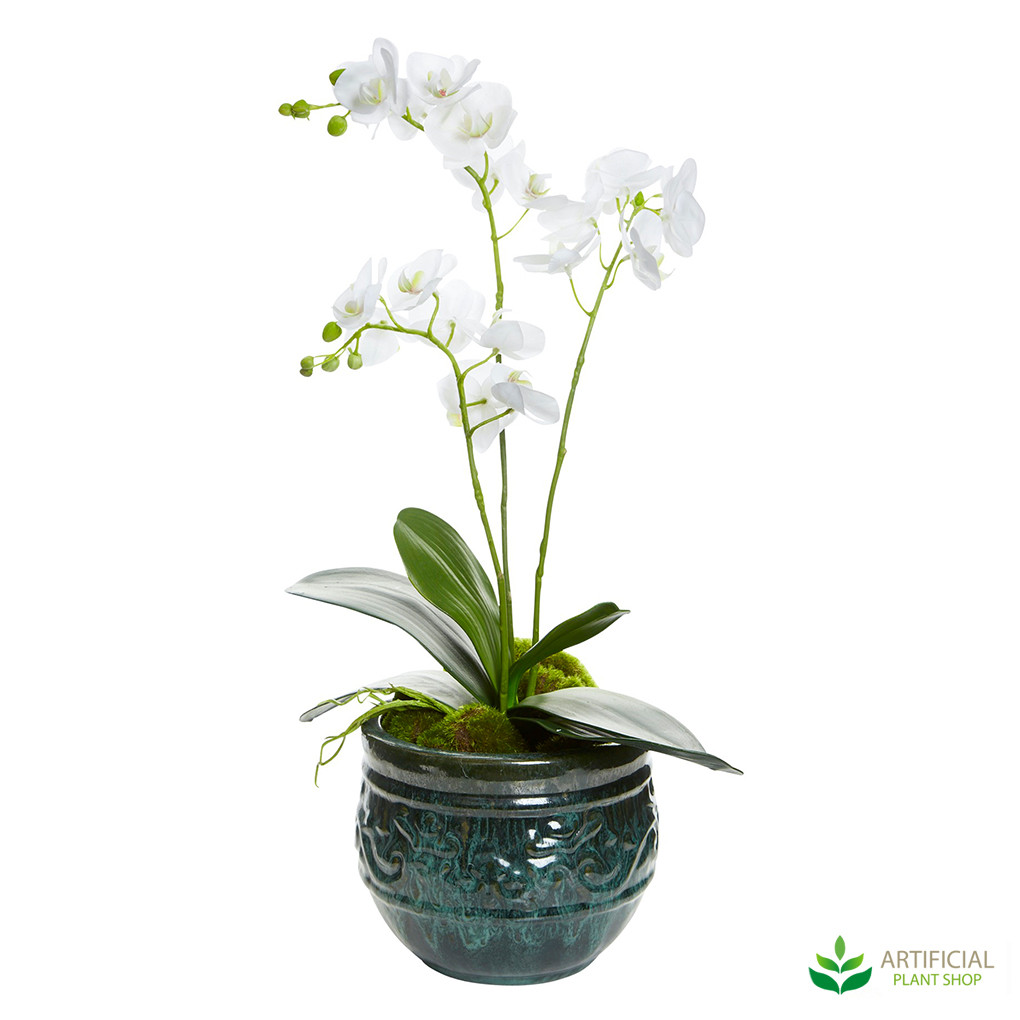potted fake orchids