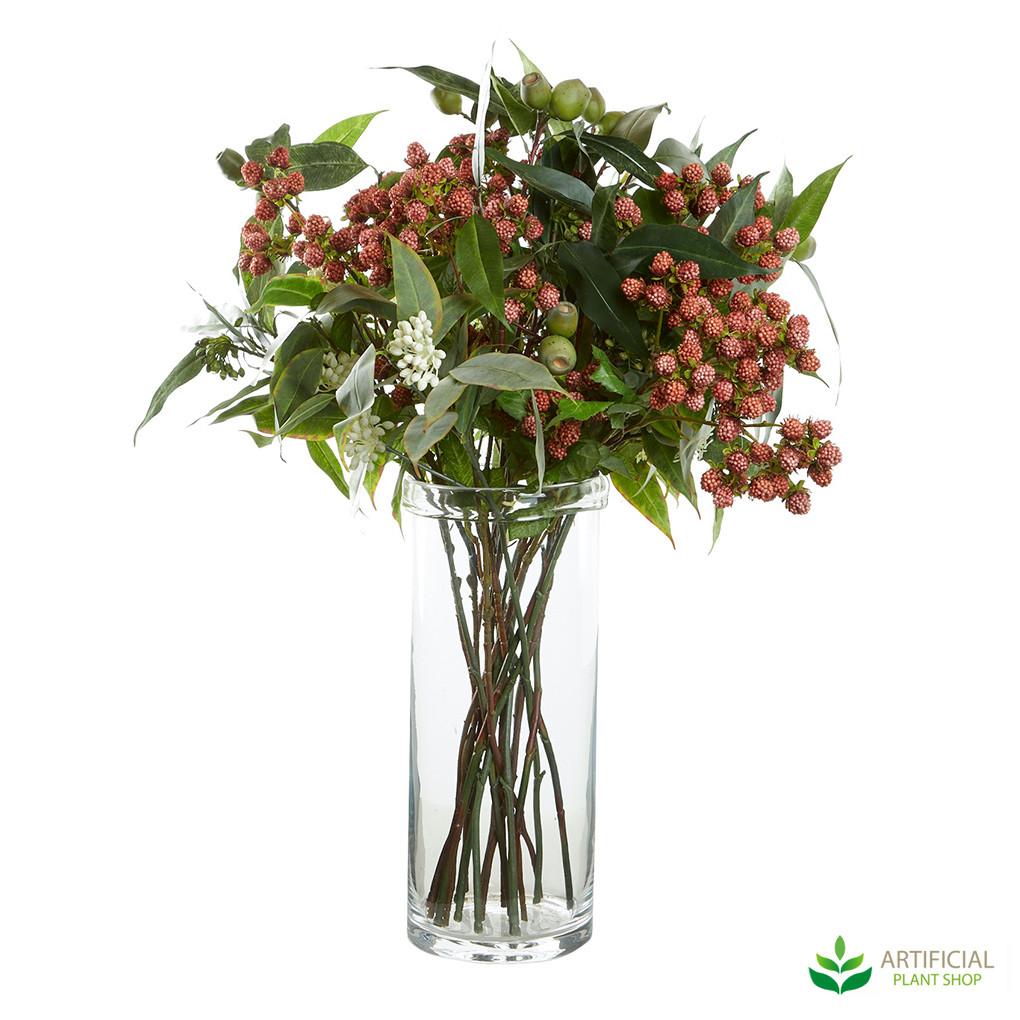 Native flowers in glass vase
