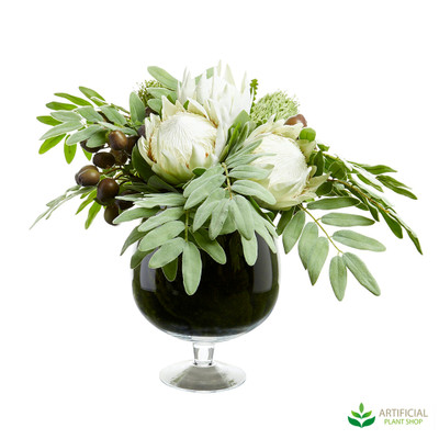 Protea & Flocked Leaves in Glass Bowl Vase 80cm