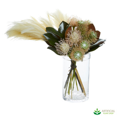 Protea & Wheat in Cylinder Vase 60cm
