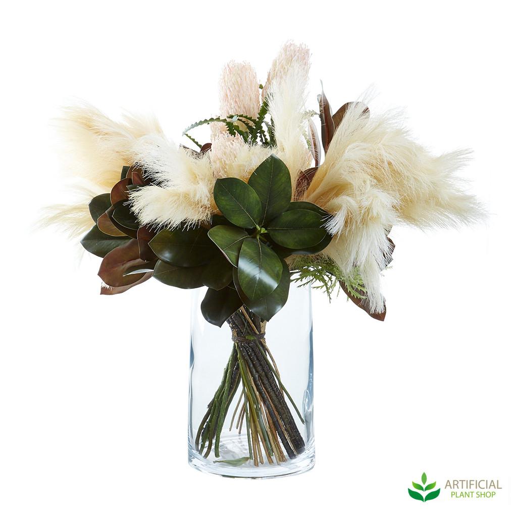 mixed greenery flower arrangement
