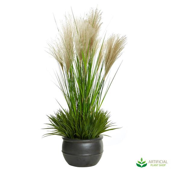 artificial pampas grass in pot