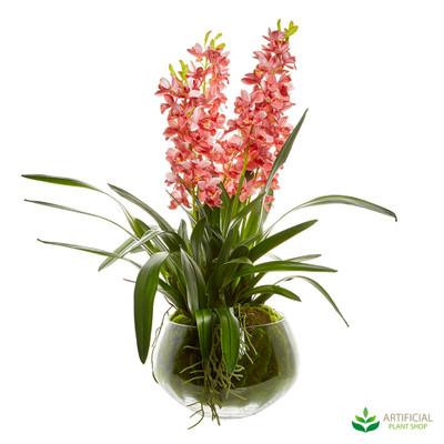 Dark Pink Cymbidium Orchid in Glass Bowl 80cm