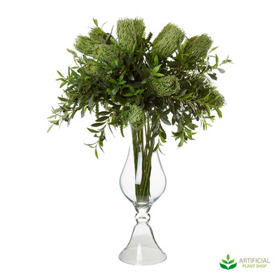 Banksia & Olive in Tall Glass Vase 1.1m