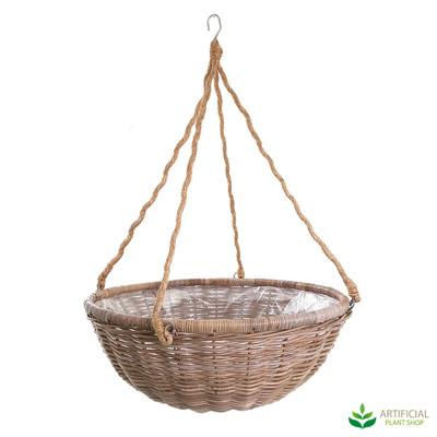 small rattan hanging basket