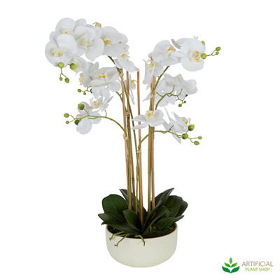Artificial Orchids in White bowl