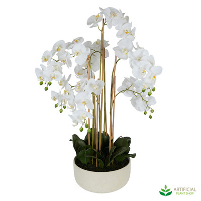 Fake Orchid in White Pot