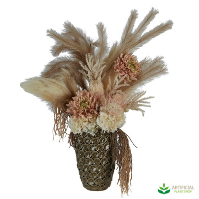 Dry look artificial flower arrangement