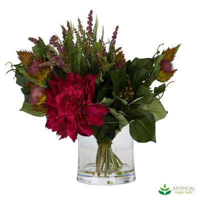 Red Artificial Flower arrangement in vase