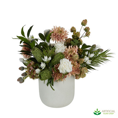 Artificial flowers in pot