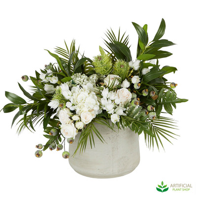 Artificial flower and greenery arrangement