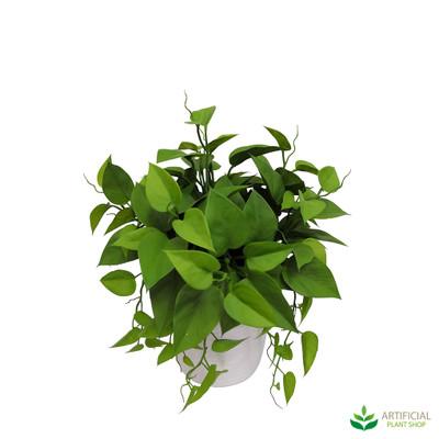 Faux leaves in pot