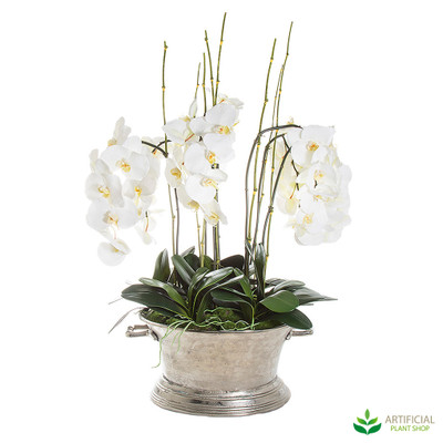 Artificial White Orchids in a steel pot