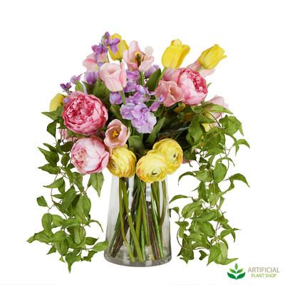 Vibrant artificial flower arrangement