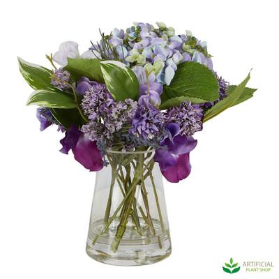 faux iris and hydrangea arrangment