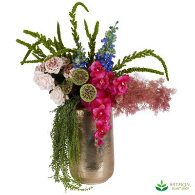 Artificial pink flower arrangement with gold bowl