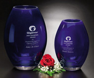 Corporate Crystal Award - Cobalt Barrel Vase     Company Gift   8.5 and 10.5 Inch Tall