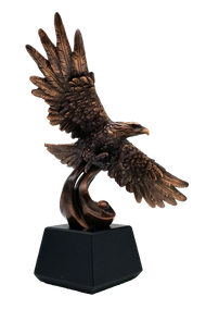 Eagle Resin Trophy | Engraved Bronze Finish Eagle Award - 12.5 Inch Tall