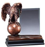 Eagle Globe Story Glass Award | Engraved Eagle World Hero Award - 8 Inch Tall