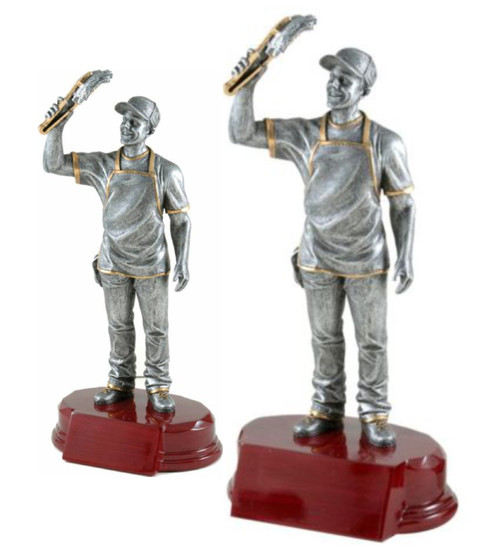 BBQ Chef Resin Trophy | Engraved Grill Master Award - 7.25 & 9.75 Inch Tall