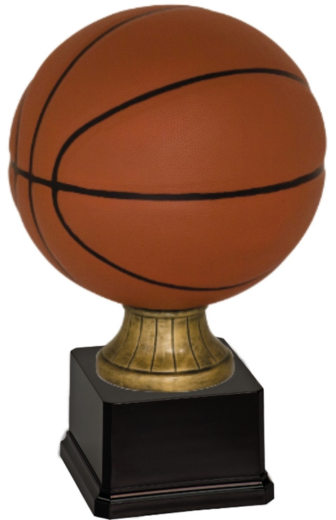 Full Size Color Basketball Resin Trophy - Weighted Black Square Base