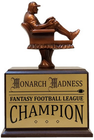 Fantasy Baseball Armchair Perpetual Trophy | Engraved Baseball Fantasy League Perpetual Award - 10.5 Inch Tall - Cherry
