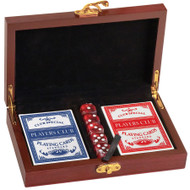Card & Dice Set - Rosewood Finish Box - Personalized Rosewood Finish Card & Dice Set