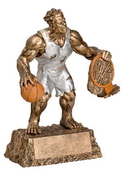 "Basketball Monster Trophy | Engraved Basketball Beast Award - 6.75"" and 9.5"""