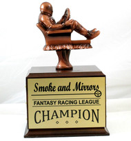 Fantasy Racing Armchair Perpetual Trophy | Engraved Racing Fantasy League Award - 10.5 Inch Tall