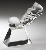 "Soccer Crystal Kick Ball Trophy | Fútbol Award - 4"" - Clearance"