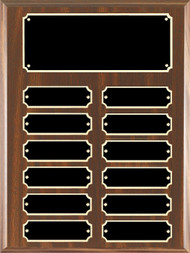 Perpetual Plaque - Walnut Finish with 12 Scalloped Edge Engraving Plates