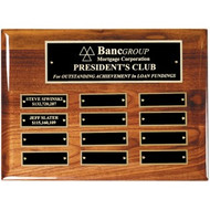 Perpetual Plaque Horizontal  - High Gloss Genuine Walnut Finish with Black Brass Engraving Plates / 12 Plates