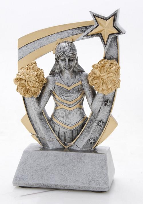 Cheerleader 3-D Star Resin Trophy | Engraved Cheerleader Award - 6 Inch Tall