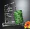 Glendale Goal-Setter Crystal Award - Green Color Block