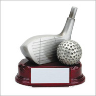 Golf Silver Driver and Ball Resin Trophy | Engraved Golf Driver Award - 5.5 Inch Tall