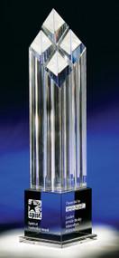 "Rhombus IV Crystal Corporate Award - 13.5"" & 14.75"" - Engraved"