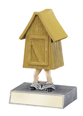 Outhouse Bobblehead Trophy   Engraved LAST PLACE / LOSER Award   5.5 Inch Tall