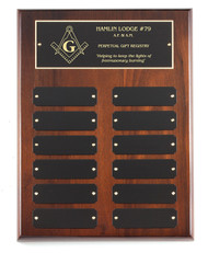 Perpetual Plaque - Genuine Walnut with 12 Black Brass Plates