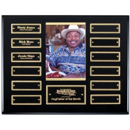 Perpetual Photo Plaque - Ebony Piano-Finish with 12 Black Engraving Plates / Gold trim