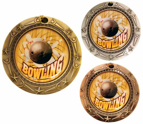 Bowling World Class Medal - Gold, Silver or Bronze | Engraved Bowler Medallion | 3 Inch Wide
