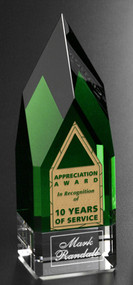 Monolith Emerald Green Crystal Corporate Award - Small 7""