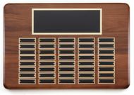 Perpetual Plaque - Genuine Walnut with Bullnose Edge & 40 Black Brass Plates
