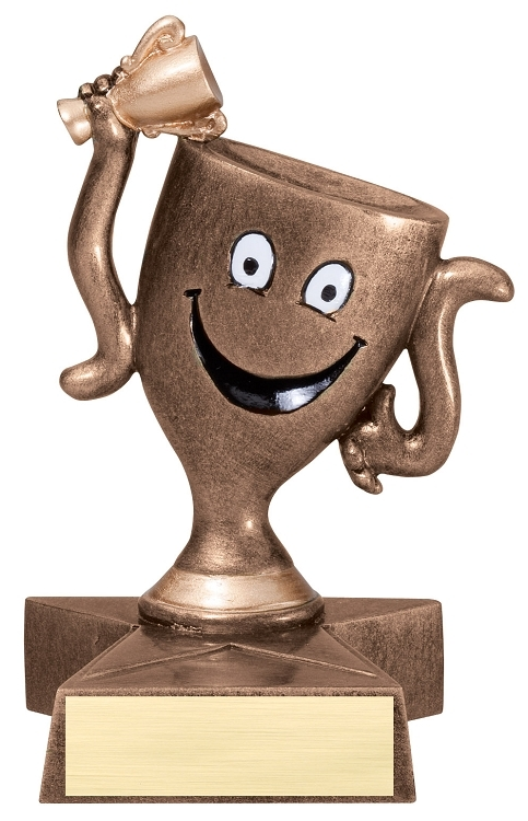 Winner's Cup Lil' Buddy Trophy  | Engraved Smiling Trophy Cup Award - 4 Inch Tall