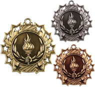 Victory Ten Star Medal - Gold, Silver or Bronze |  Flame of Victory 10 Star Medallion | 2.25 Inch Wide