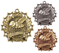 Spelling Ten Star Medal - Gold, Silver & Bronze   Spelling Bee 10 Star Award   2.25 Inch Wide