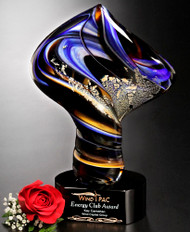 Art Glass Trophy - Golden Twist | Artistic Corporate Award - 11""